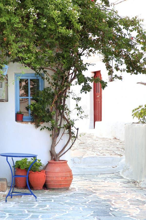 Folegandros-greek island. Narrow street in a greek island(Folegandros stock photo
