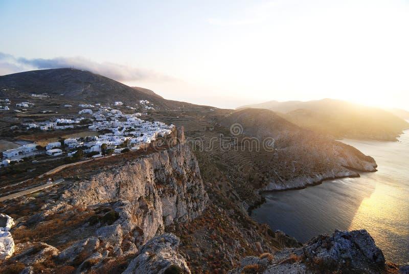 Folegandros Island, Greece. View of the village of Chora in Folegandros island, Greece royalty free stock photos