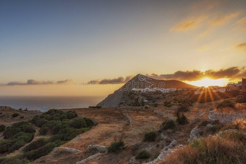 FOLEGANDROS ISLAND AT SUNRISE. CYCLADES ISLANDS GREECE royalty free stock photos