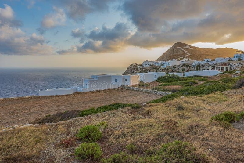 FOLEGANDROS ISLAND AT SUNRISE. CYCLADES ISLANDS GREECE royalty free stock image