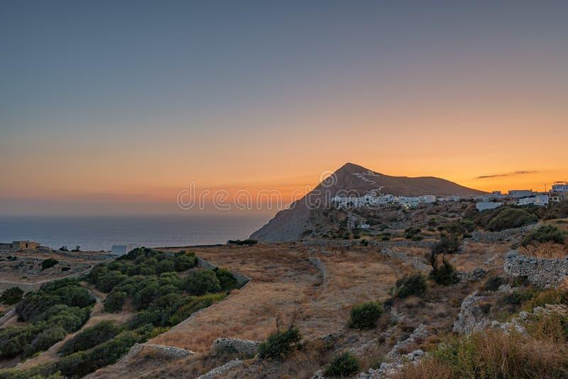 FOLEGANDROS ISLAND AT SUNRISE. CYCLADES ISLANDS GREECE stock photos