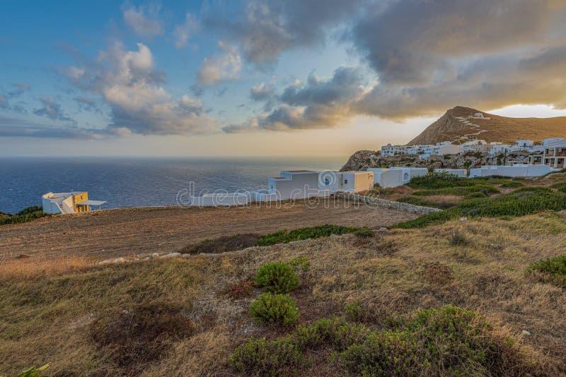 FOLEGANDROS ISLAND AT SUNRISE. CYCLADES ISLANDS GREECE stock photography