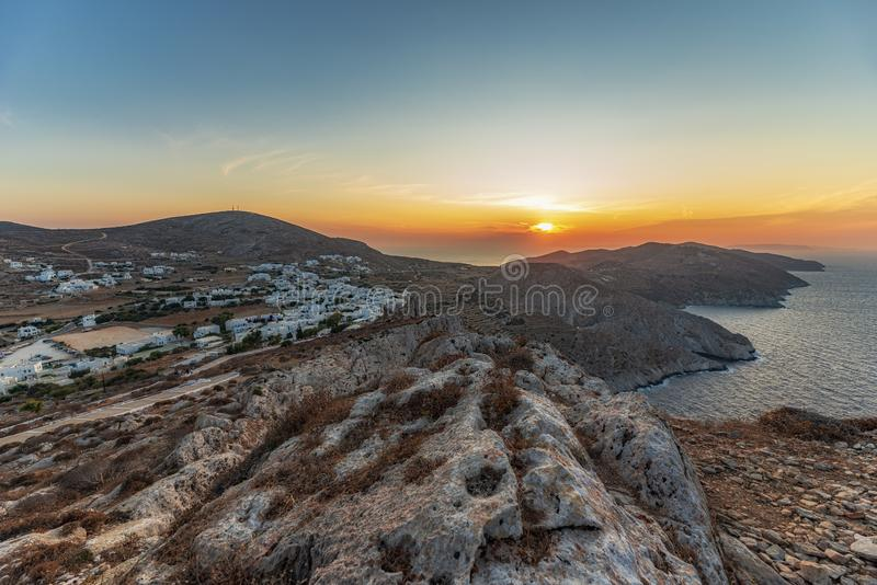 FOLEGANDROS ISLAND AT SUNSET. CYCLADES ISLANDS GREECE royalty free stock photo