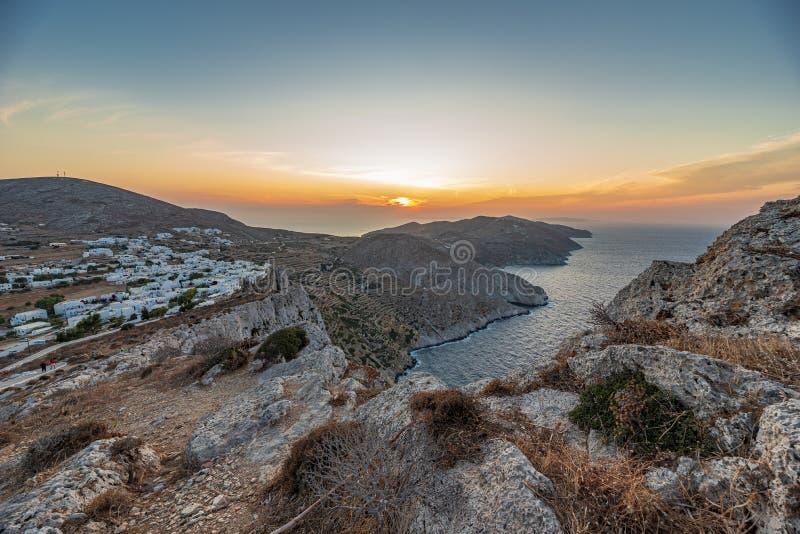 FOLEGANDROS ISLAND AT SUNSET. CYCLADES ISLANDS GREECE stock photos