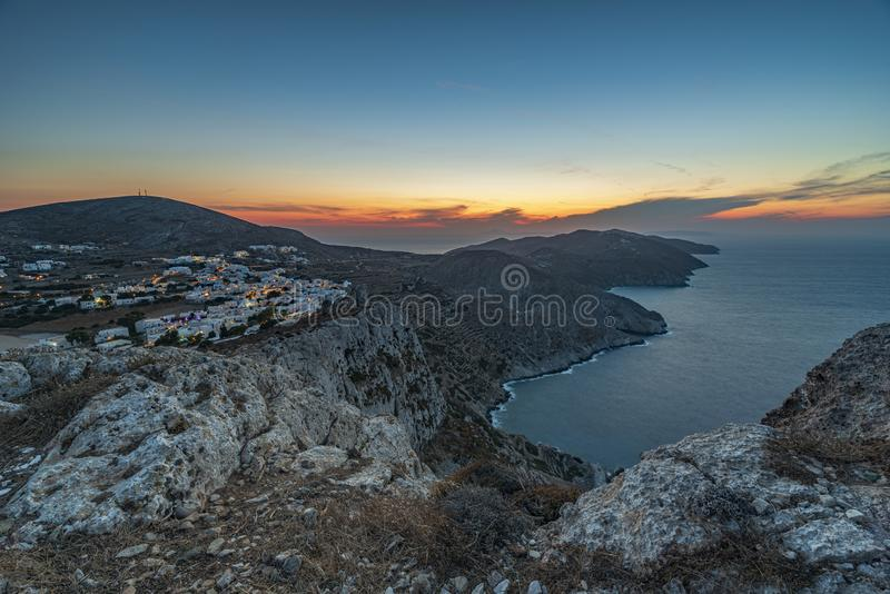 FOLEGANDROS ISLAND AT SUNSET. CYCLADES ISLANDS GREECE stock photo