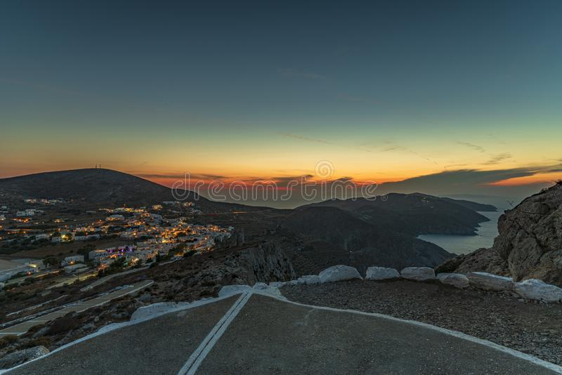 FOLEGANDROS ISLAND AT SUNSET. CYCLADES ISLANDS GREECE royalty free stock photography