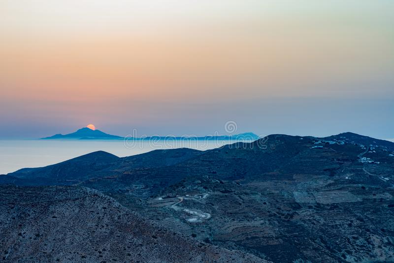 FOLEGANDROS ISLAND SUNSET, GREECE. SUNSET FROM THE FOLEGANDROS CHORA - CYCLADES ISLANDS GREECE royalty free stock photo