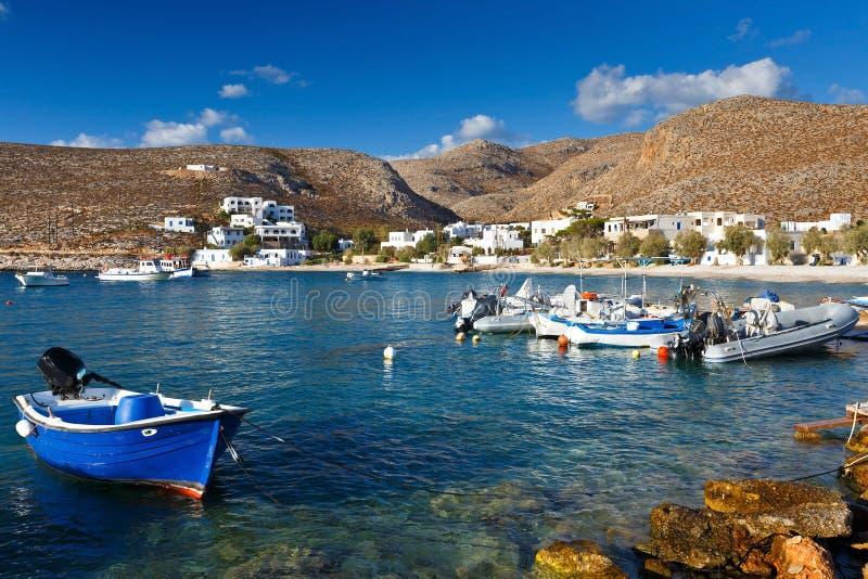 Folegandros. Karavostasis village on Folegandros islands early in the morning stock image