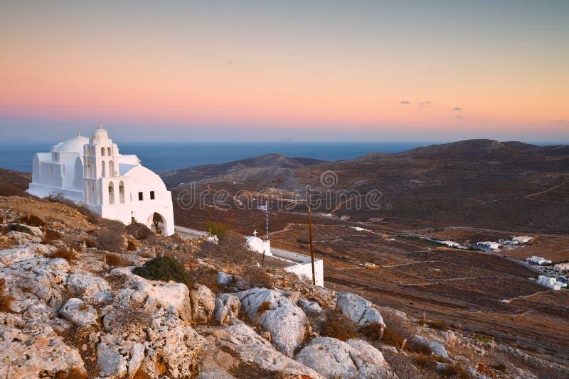 Folegandros. Monastery on a hill above Folegandros village stock photos
