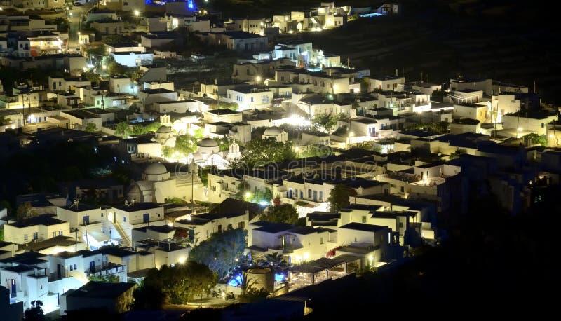 Folegandros. Night image of the Chora of Folegandros stock images