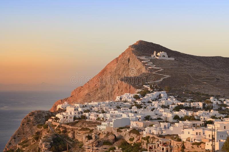 Folegandros at sunset. The Church of Panagia in Chora, Folegandros Cyclades royalty free stock photo