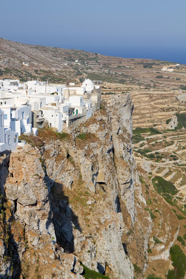 Folegandros Town. The town of Chora on Folegandros island, Greece, sitting on the edge of a steep cliff royalty free stock images
