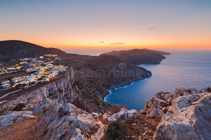 Folegandros. View of Folegandros village and surrounding landscape royalty free stock images