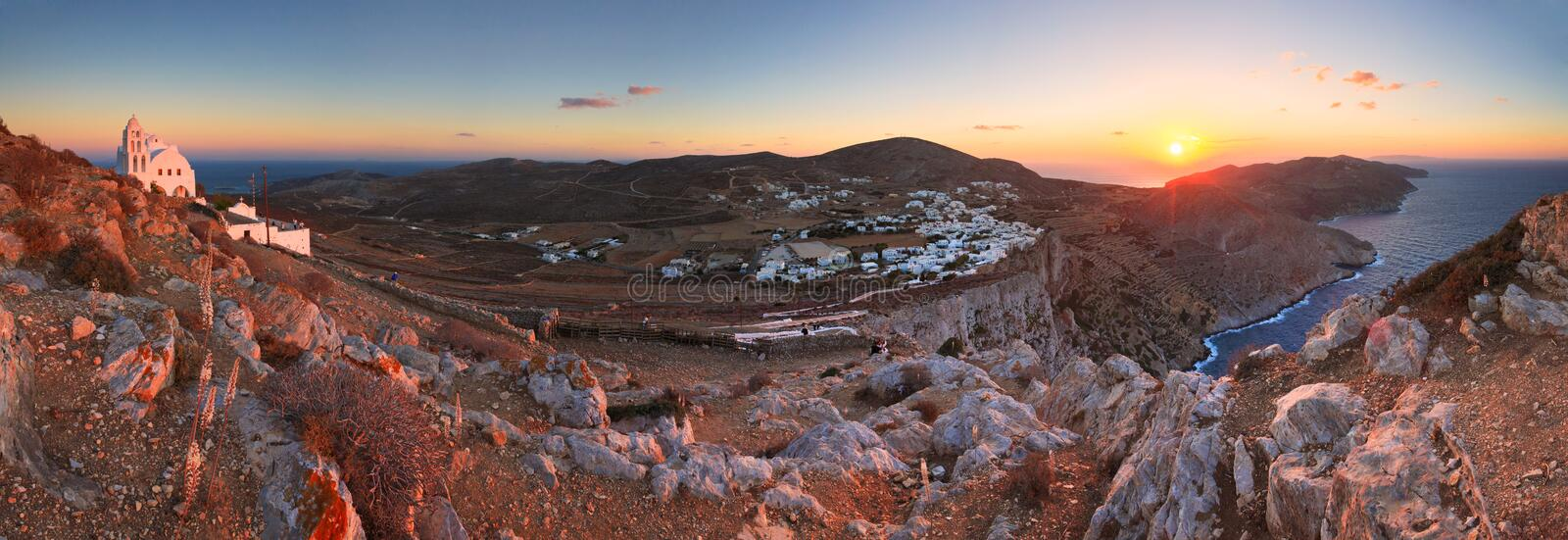 Folegandros. View of Folegandros village and surrounding landscape stock photography