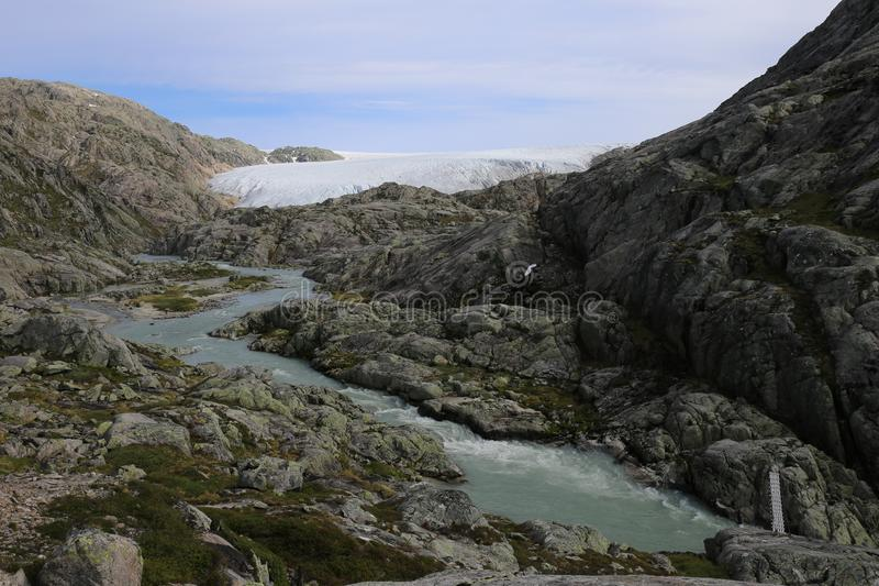 Folgefonna Gletscher in den Bergen bei Hardanger fjord lizenzfreies stockbild