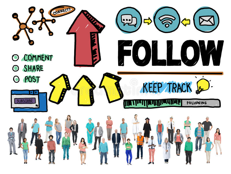 Folgen Sie Nachfolger-folgendem Verbindungsvernetzungs-sozial-Konzept lizenzfreie stockfotografie