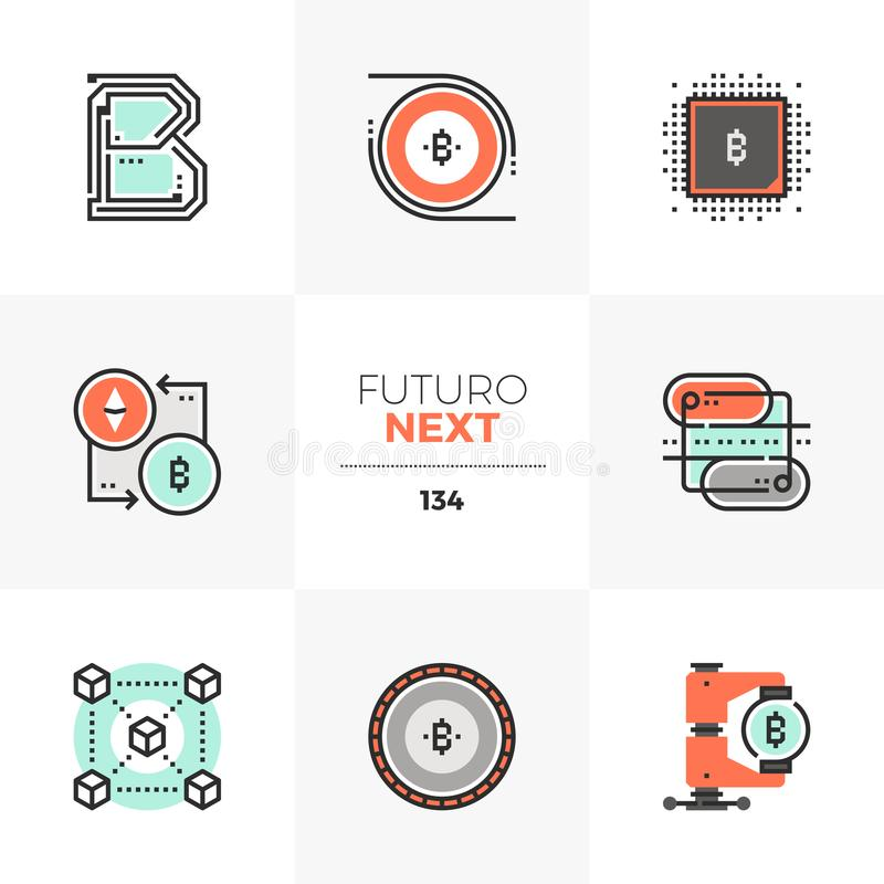 Folgende Ikonen Blockchain-Technologie Futuro stock abbildung
