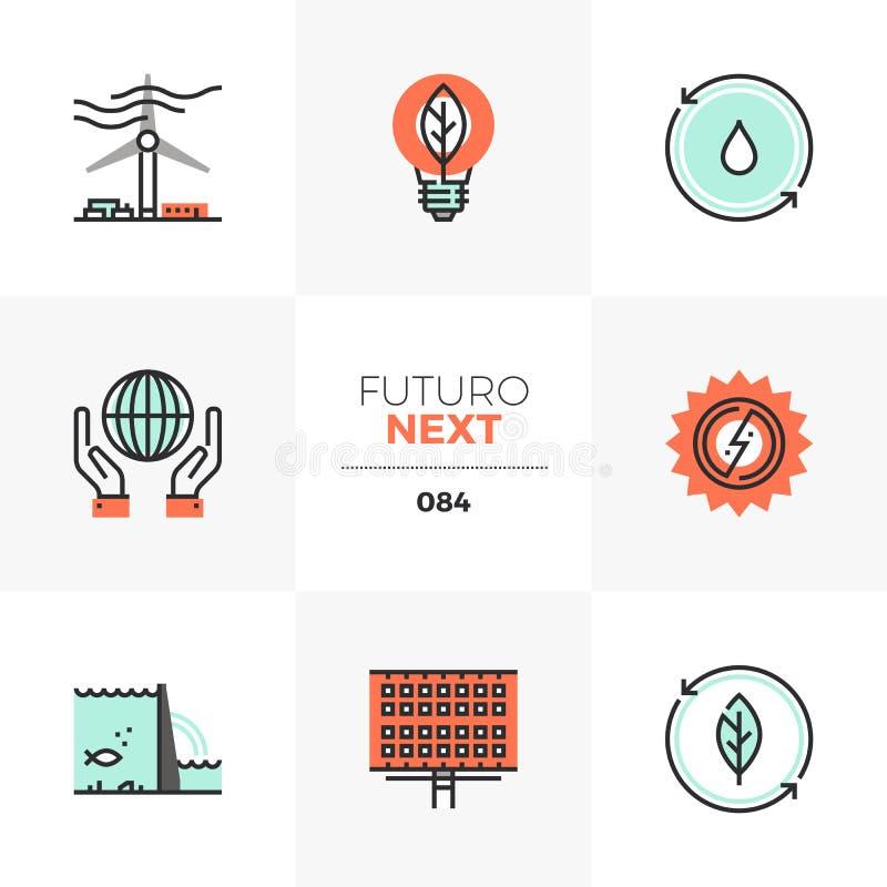 Folgende Ikonen Futuro der erneuerbaren Energie stock abbildung