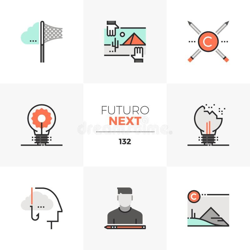 Folgende Ikonen geistiges Eigentum Futuro lizenzfreie abbildung