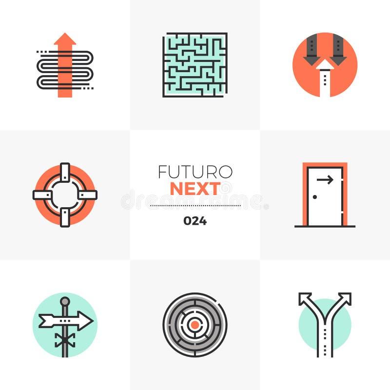 Folgende Ikonen Geschäfts-Konzepte Futuro stock abbildung