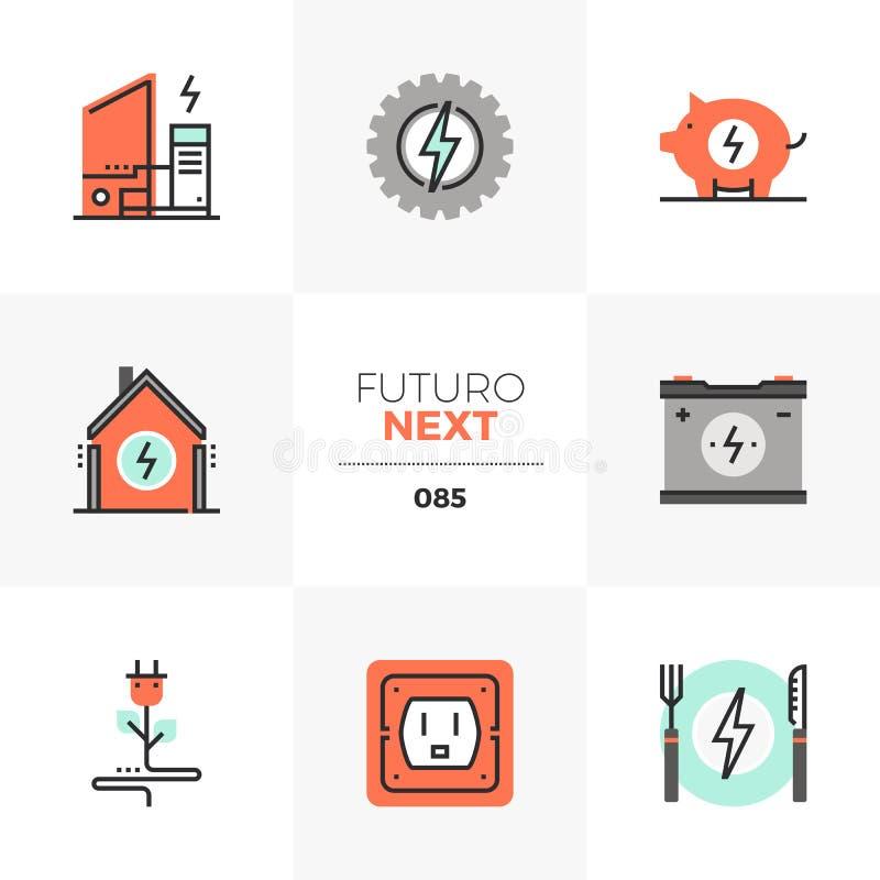 Folgende Ikonen Strom Futuro lizenzfreie abbildung