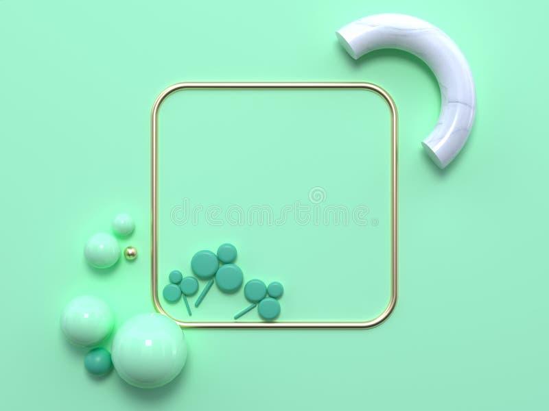 A folha abstrata da natureza coloca horizontalmente o leaft de mármore branco do verde do quadro do quadrado da rendição 3d do ou ilustração do vetor