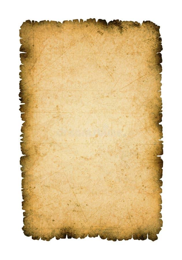 Folha antiga de papel com bordas queimadas ilustração do vetor