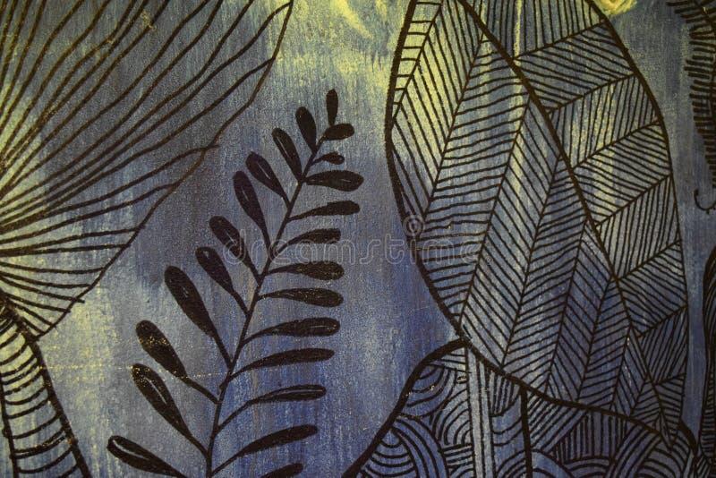 Folha Art Graphic Pattern Style Decoration bonito do sumário no fundo retro ilustração do vetor