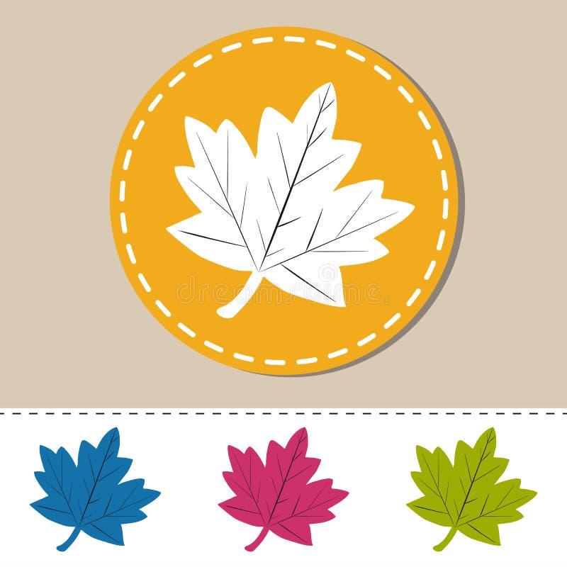 Folha Autumn Web Icons - ilustração colorida do vetor - isolado no branco ilustração do vetor