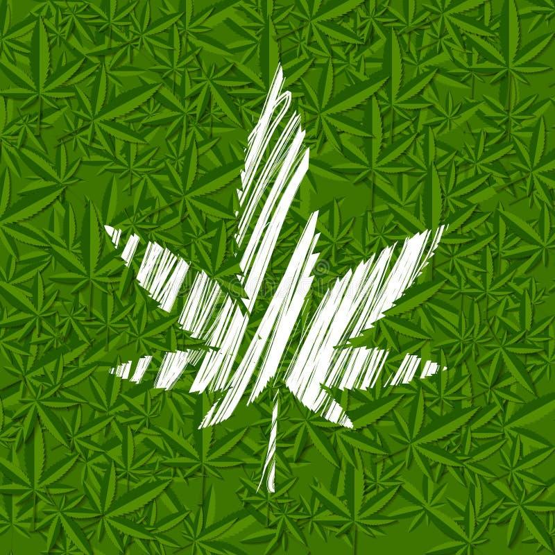 Folha branca do cannabis do grunge no teste padrão verde ilustração royalty free