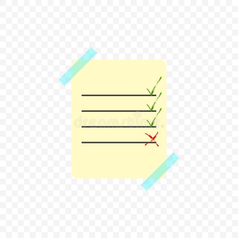Folha colada com a fita transparente transparente com uma lista de terminado e assunto por terminar Ilustração do vetor na ilustração royalty free