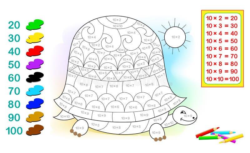 Folha com exercícios para crianças com multiplicação por dez Precise de resolver exemplos e pintar a tartaruga ilustração do vetor