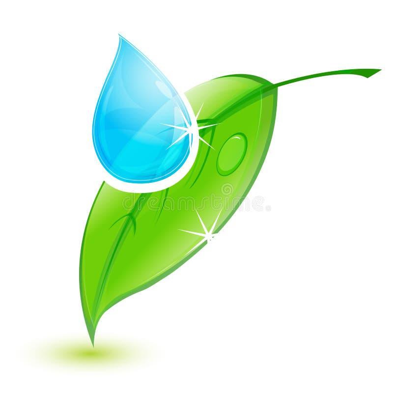 Folha com gota da água ilustração royalty free