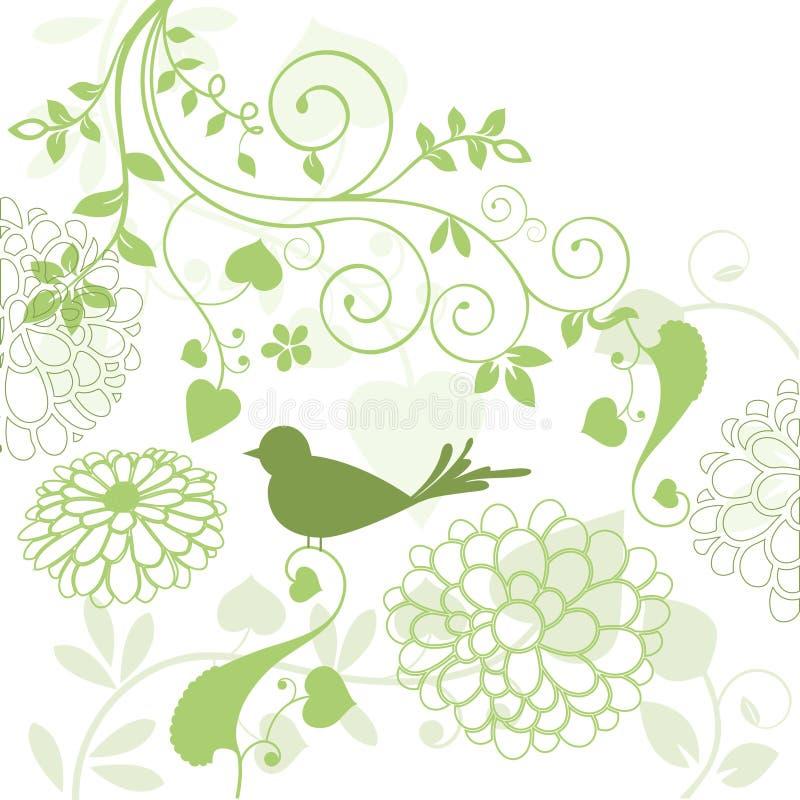 Folha com pássaro ilustração royalty free