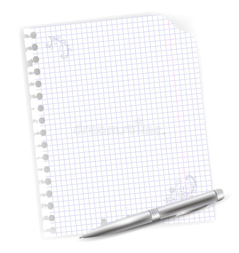 Folha com a pena do desenho e de ballpoint ilustração do vetor