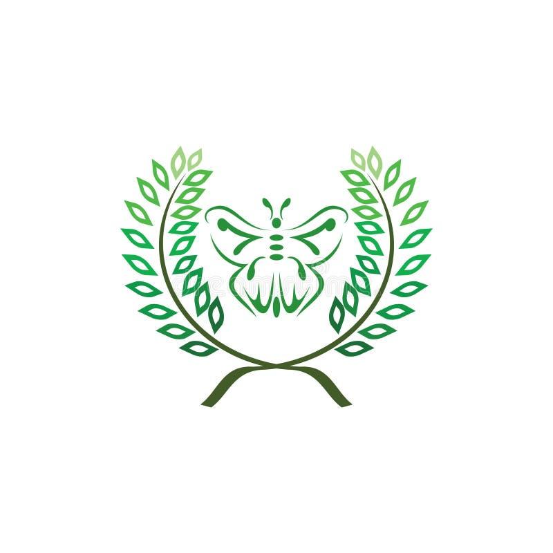 Folha com projeto do logotipo da borboleta ilustração stock
