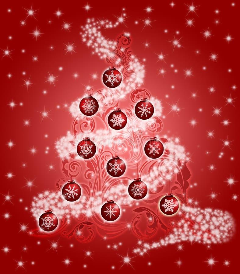 A folha da árvore de Natal roda os ornamento dos Sparkles vermelhos ilustração stock