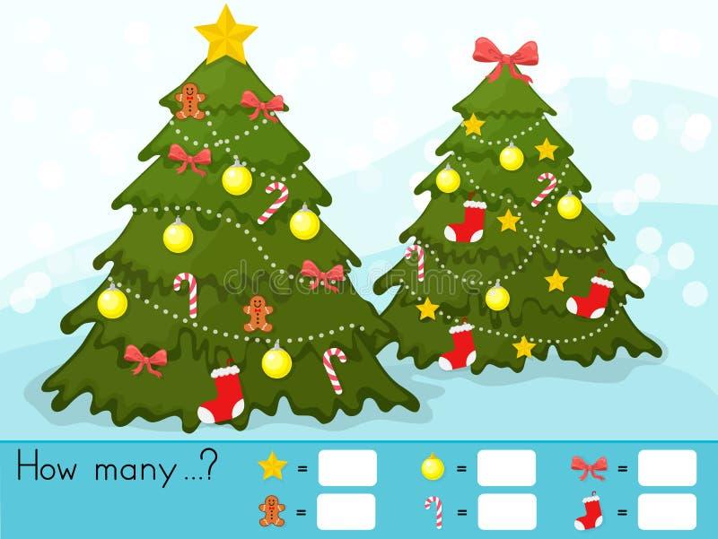 Folha da atividade do tema do Natal - contando o jogo Quantos objetos se encarregam ilustração royalty free