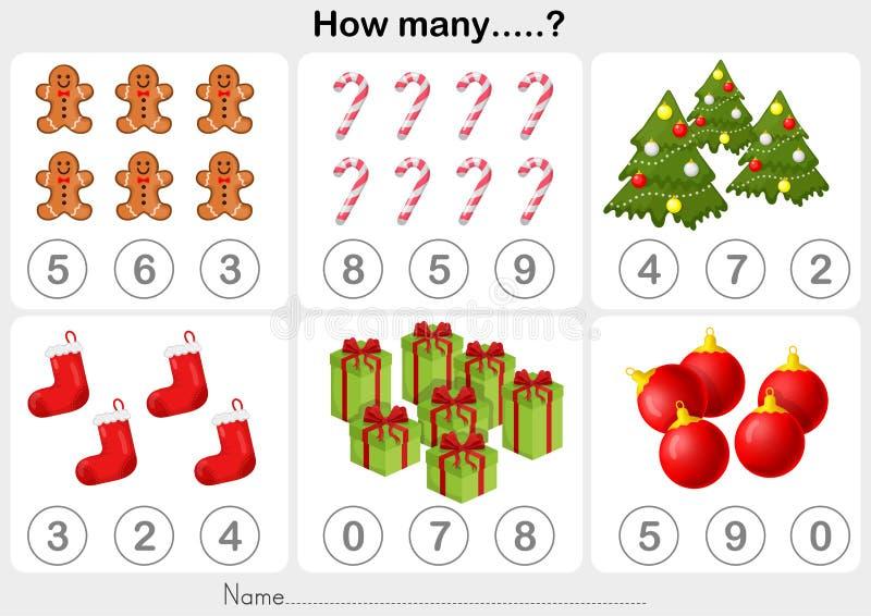 Folha da atividade do tema do Natal - contando o objeto para crianças ilustração do vetor