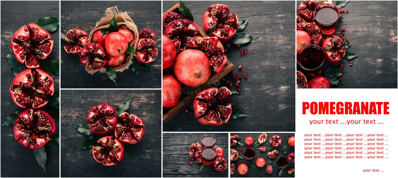 Folha da foto collage Rom? fresca Frutas fotografia de stock royalty free