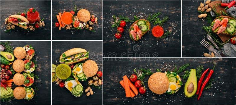 Folha da foto collage Sanduíche e hamburguer foto de stock