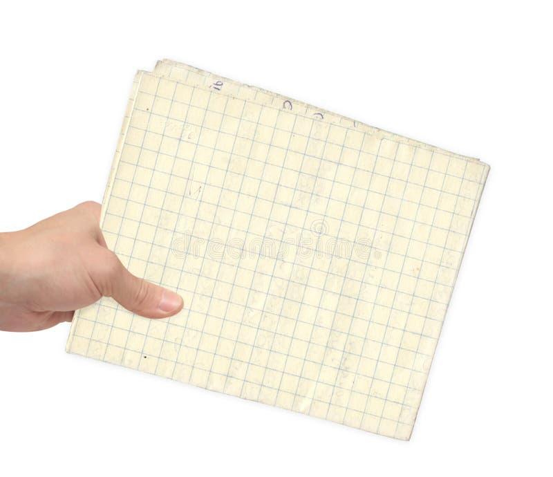 Folha da mão e do papel imagens de stock