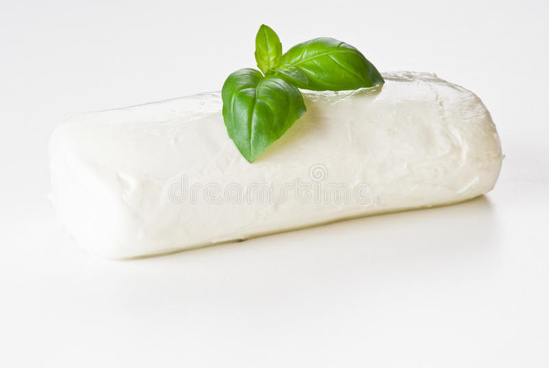 Folha da manjericão no mozzarella imagem de stock