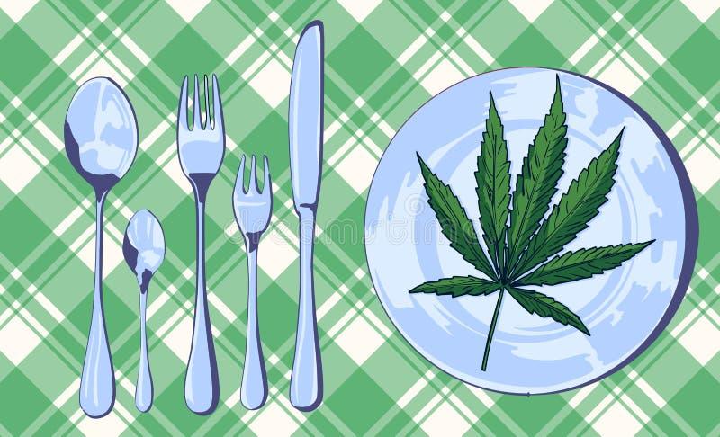 Folha da marijuana na pasta com faca, forquilha e colher, imagem do vetor ilustração royalty free