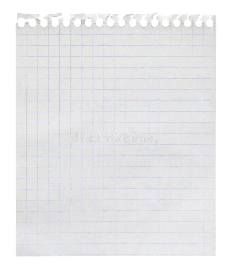Folha da nota do loose-leaf do papel esquadrado fotografia de stock
