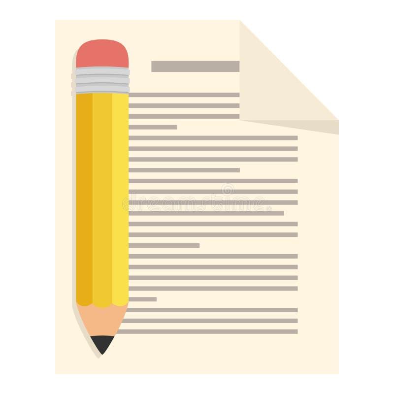Folha da página com ícone liso do lápis no branco ilustração do vetor