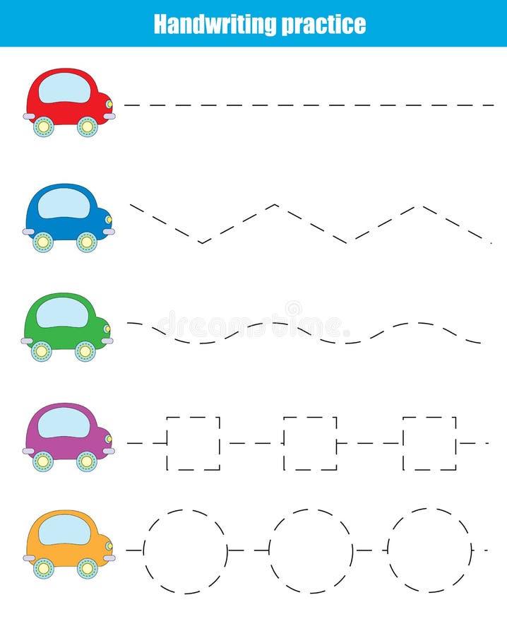 Folha da prática da escrita Jogo educacional das crianças ilustração royalty free