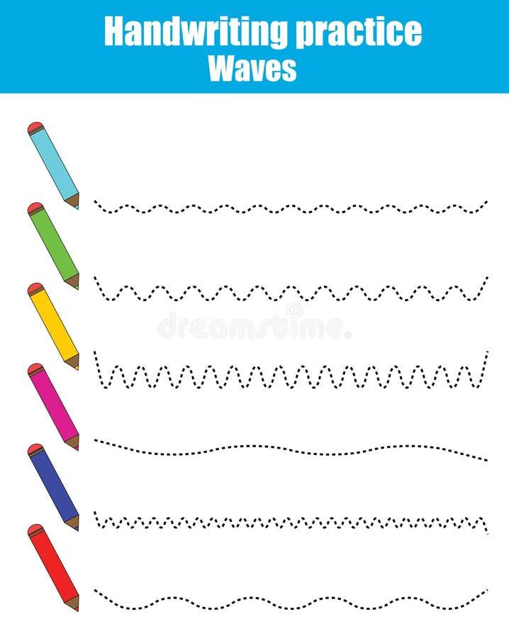 Folha da prática da escrita Jogo educacional das crianças Folha imprimível, ondas de tiragem ilustração do vetor