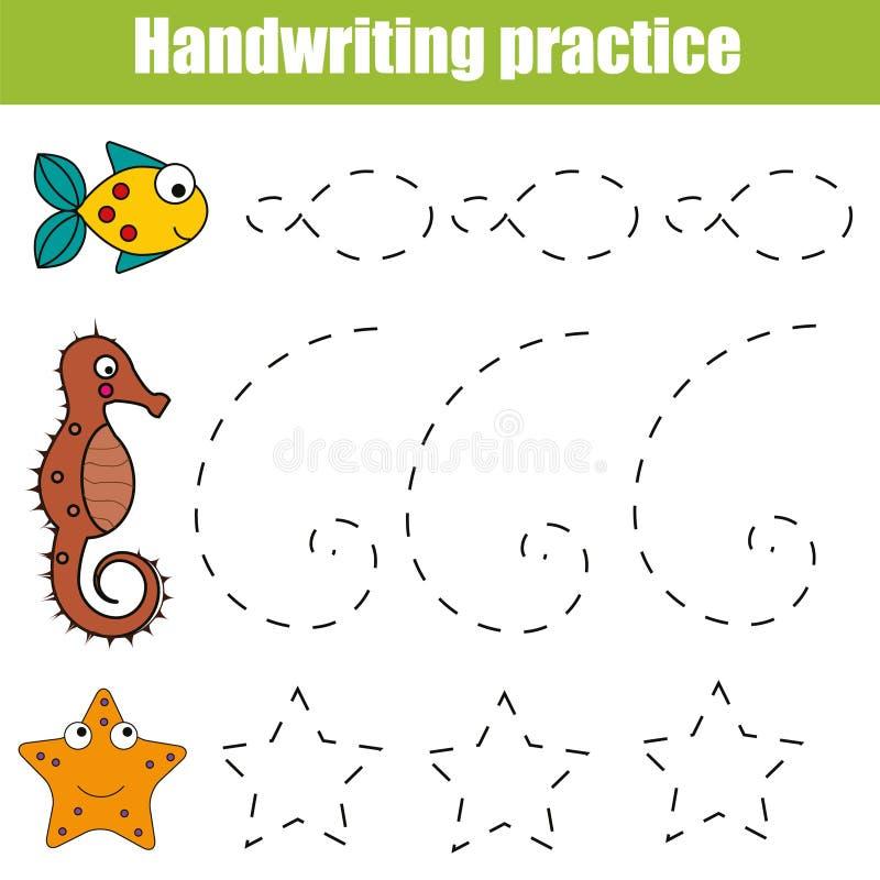 Folha da prática da escrita Jogo educacional das crianças, folha imprimível para crianças com formas ilustração do vetor
