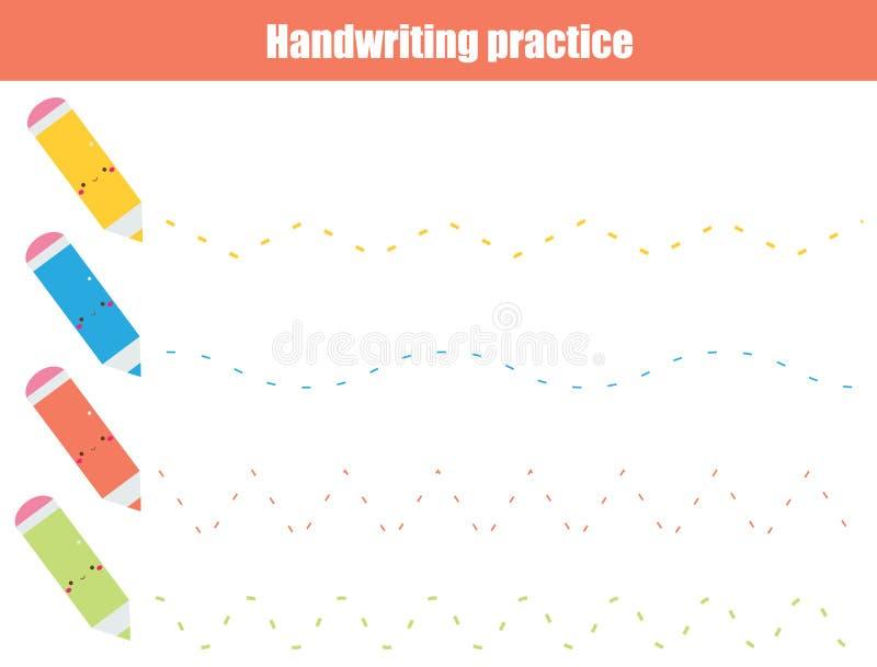 Folha da prática da escrita Jogo educacional das crianças, folha imprimível para crianças Linhas e ziguezague ondulados de seguim ilustração do vetor